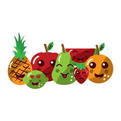 pear pineapple apple lime strawberry watermelon orange happy fruit kawaii icon image vector illustration design