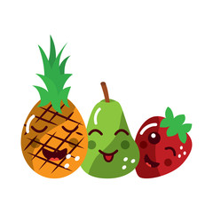 pineapple pear strawberry happy fruit kawaii icon image vector illustration design
