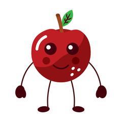 apple happy fruit kawaii icon image vector illustration design