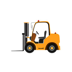 Yellow forklift truck on white background
