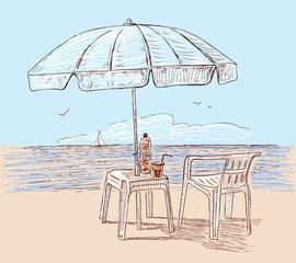Beach umbrella on the seashore