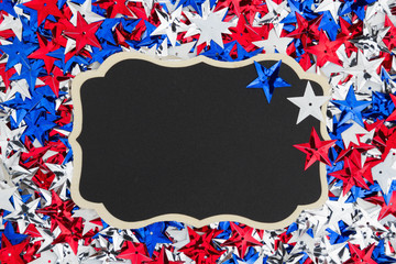 USA red, white and blue stars with chalkboard background