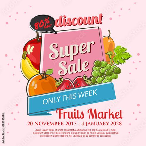 fruits market sale poster