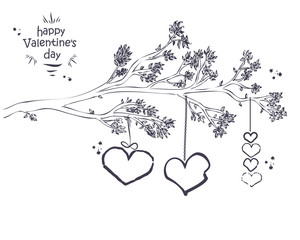 Hand drawn Branch with leaves and hanging Hearts. Ideal for Valentine's Day Card or Wedding Invitation.