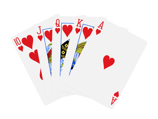 hearts royal flush poker cards isolated on white