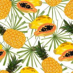 Pineapple, papaya and palm leaves. Seamless pattern.