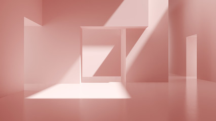 Interior pink abstract empty room 3D rendering