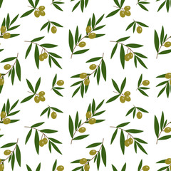 green olives branches with green leaves oil pattern on a white background seamless vector