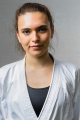 Portrait of a Young Woman Practicing Karate Martial Art