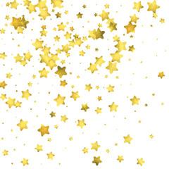 Star confetti. Gold random confetti background