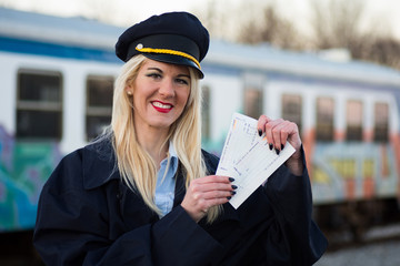 railway worker with tickets