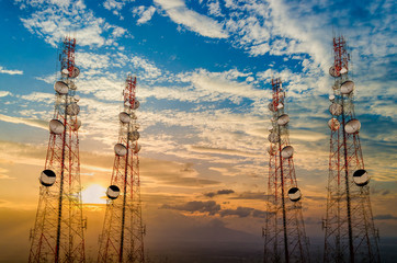 Telecommunication tower antenna in morning sky Evening sky Wall mural