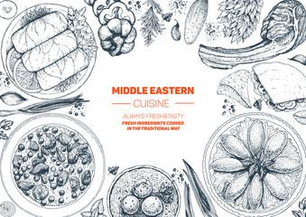 Middle eastern cuisine top view frame. Food menu design with cholent, kebab, dolma, kibbeh, matzo ball soup. Vintage hand drawn sketch vector illustration.