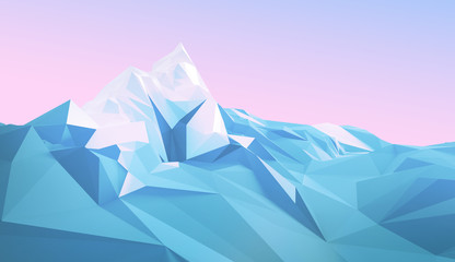 Winter polygonal image of a mountainous area with a glacier on top of a mountain. 3d illustration