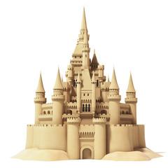 Fairytale sand castle isolated on white background.