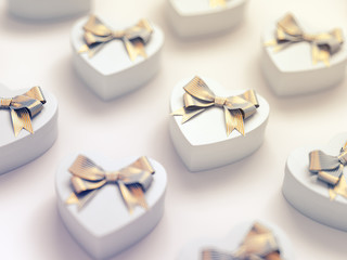 Heart shaped gift boxes.