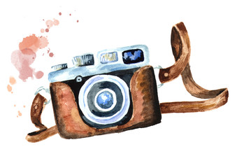 Camera isolated on white background. Watercolor hand drawn illustration