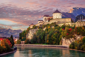 Kufstein Old Town on Inn river, Alps mountains, Austria Wall mural