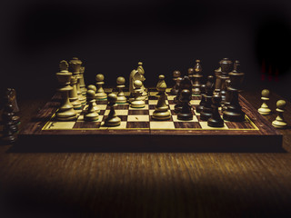 close up shot of the checkmate board with pieces isolated on the table