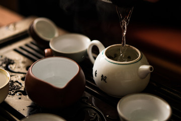 Green Tea Pouring in Traditional Chinese Tea Ceremony