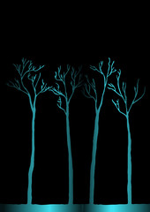 Vector. Set of drawn trees background.