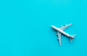 Model plane,airplane on blue pastel color