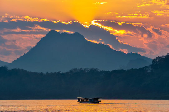 Sunset on the Mekong River in Luang Prabang, Laos