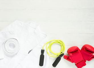 Karate, Judo, TaeKwonDo uniform, gloves and jump rope on white background