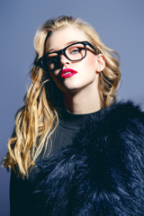spectacles and fur coat
