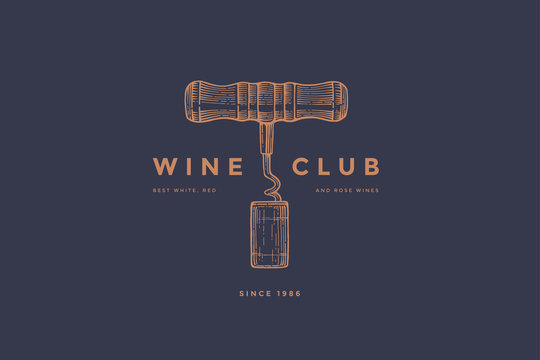 Logo template of wine club with image corkscrew and wine cork on dark blue background. Vector design element for wine store, menu, brand and identity.