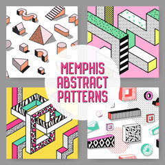Abstract Memphis Style Seamless Pattern Set. Hipster Fashion 80s 90s Backgrounds with Geometric Elements. Vector illustration