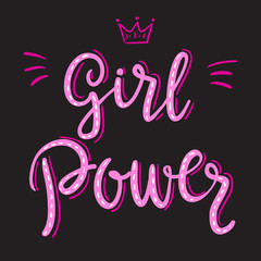 Girl power slogan hand drawn pink lettering with crown on black background. Vector illustration for t shirt, poster etc