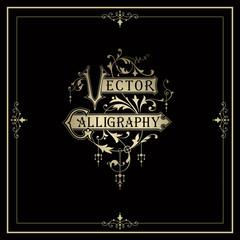 Vector calligraphy design elements.