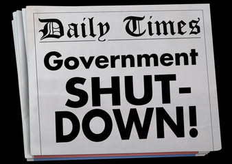 Government Shut-Down Newspaper Headline 3d Illustration