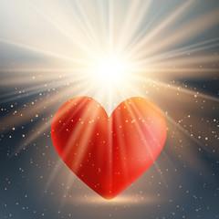Valentine's day heart on starburst background
