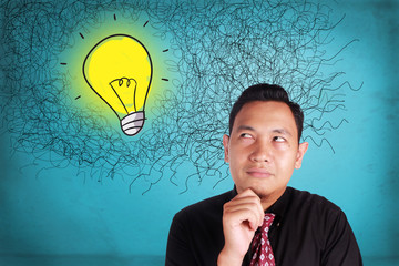 Businessman Thinking Bright Idea