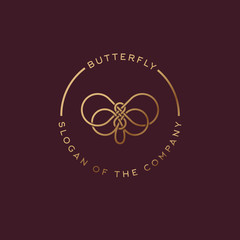 Butterfly logo. Beautiful decorative butterfly from intertwined lines. Golden logo for cosmetics, lingerie, jewelry store.