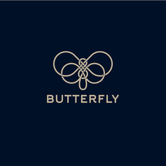 Butterfly logo. Beautiful decorative butterfly from intertwined lines. Logo for cosmetics, lingerie, jewelry store.
