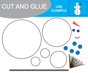 Image of snowman. Cut and glue. Educational game for children.