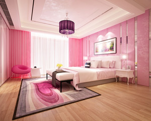 3d render pink style bedroom