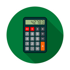 Calculator Icon, vector circle flat color llustration