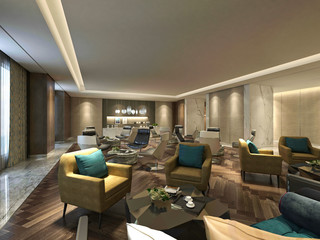 3d render luxury hotel lobby and bar
