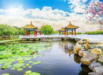 Beautiful Garden, pavilions and lake. Located in China, Asia. Beauty world.