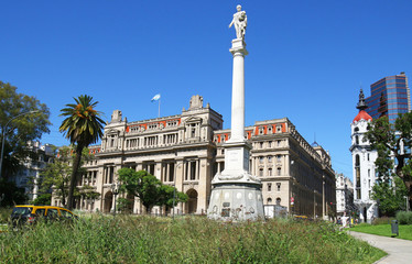 The Palace of Justice, Supreme Court of Argentina, Monument to General Juan Lavalle in front. Buenos Aires, South America