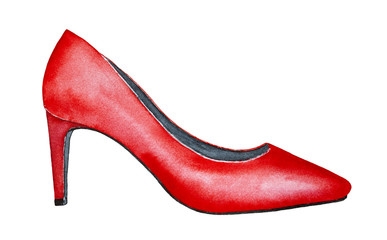 Red high heel women's shoe. Classic design, traditional silhouette. Symbol of unruly women, passion, elegance, beauty. One single object, side view. Hand drawn watercolour drawing on white background,