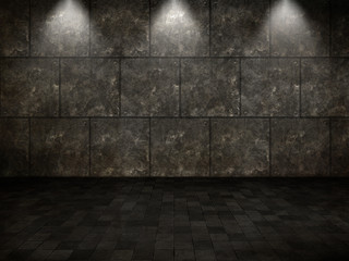 3D grunge interior with tiled floor and metal walls and spotlights