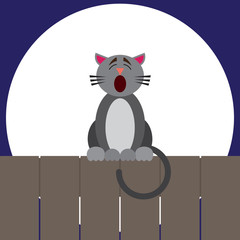 A cartoon cat is sitting on a fence singing in front of the moon