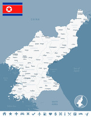 North Korea - map and flag Detailed Vector Illustration