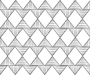 Seamless geometric chevron zigzag illustration vector design vintage retro background hand drawn sketch looking art with triangles stripes lines and diamond shapes monochrome black and white