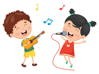 Vector Illustration Of Kid Playing Music
